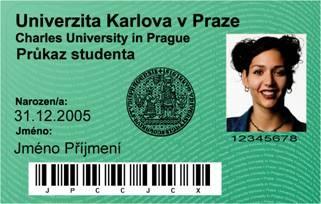 Průkaz studenta Univerzity Karlovy